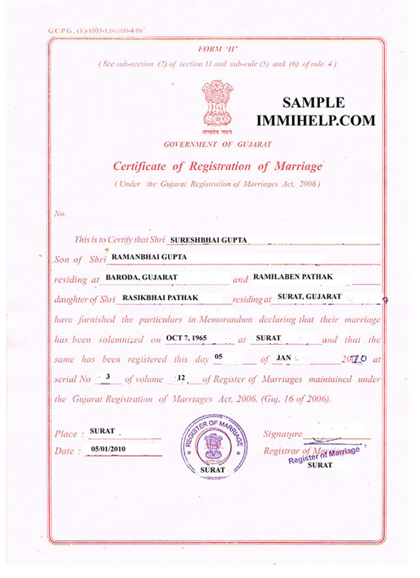 sample marriage registration certificate india